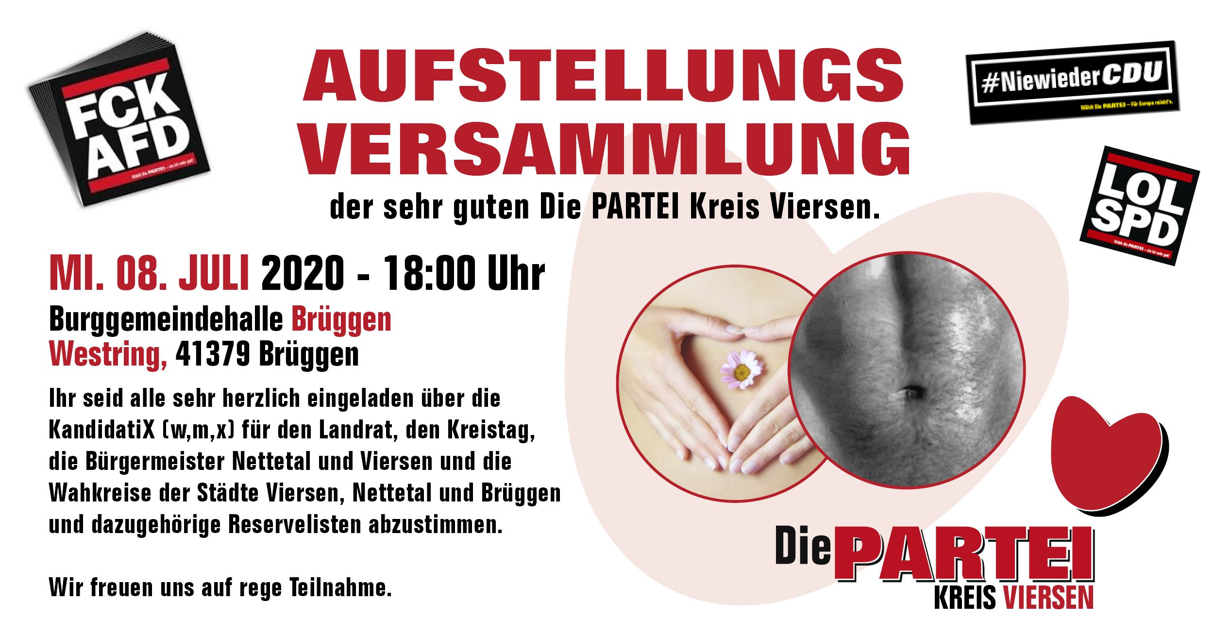 Die PARTEI Kreis Viersen: Aufstellungsversammlung für NRW-Kommunalwahlen 2020