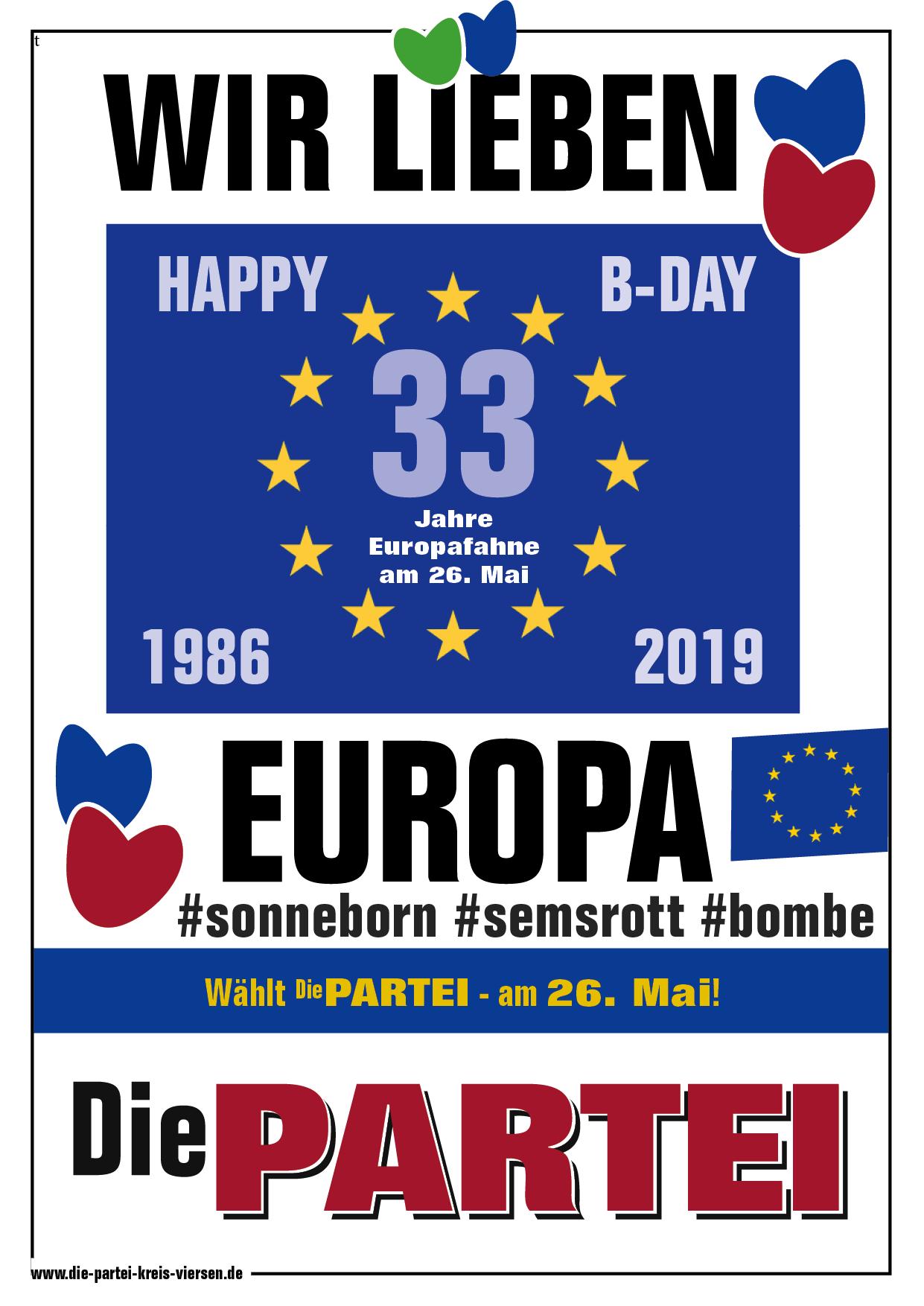 33 Jahre EU-Flagge am 26. Mai. 2019