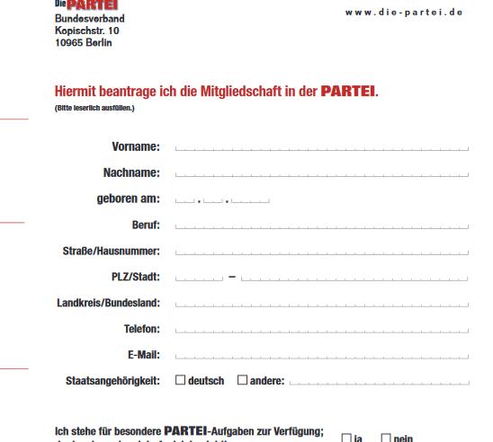 Formulare – Aufnahmeantrag